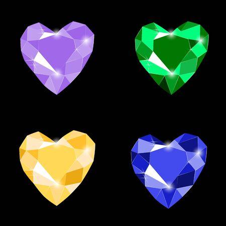 Fancy vivid lilac, emerald, yellow and blue heart shape diamond gems isolated on black background. Vector illustration jewels or precious diamonds gem set. Diamonds set.