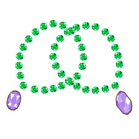 Fancy vivid emerald diamond gems bracelets isolated on white background. Vector illustration jewels or precious diamonds gem set. Diamonds set.