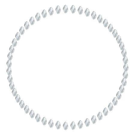 White diamond gems circle frame isolated on white background. Vector jewels or precious diamonds gem set. Diamonds set vector illustration.
