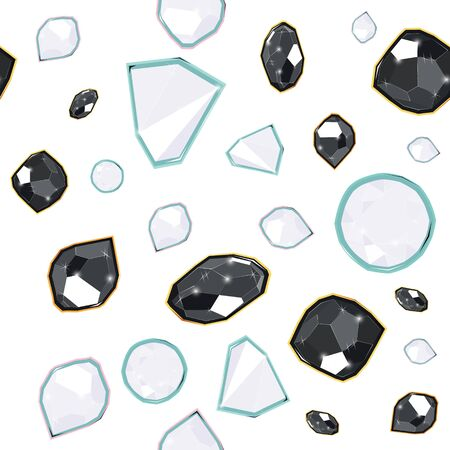Black and white precious gems seamless vector pattern of white background. Luxury jewels geometric precious objects. For cover, banner, background, card banner, poster luxury design.