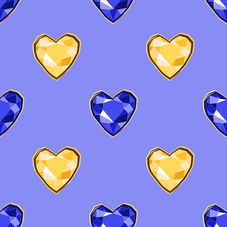 Yellow and blue diamond heart gems seamless pattern on blue backdrop. Luxury jewels geometric precious objects. For cover, banner, background, card banner, poster luxury design.