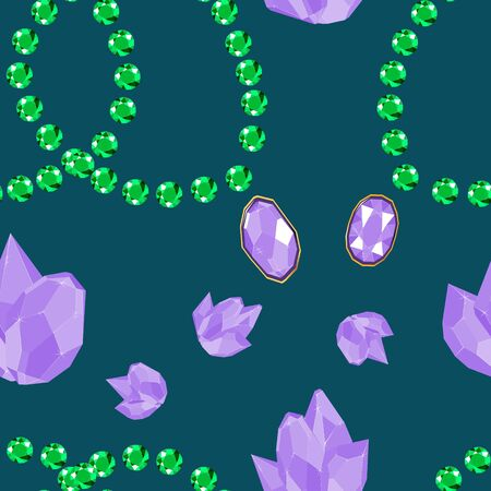 Lilac crystal jewels and green emerald bracelets seamless pattern. Luxury jewels geometric precious objects. For cover, banner, background, card banner, poster luxury design. Vectores
