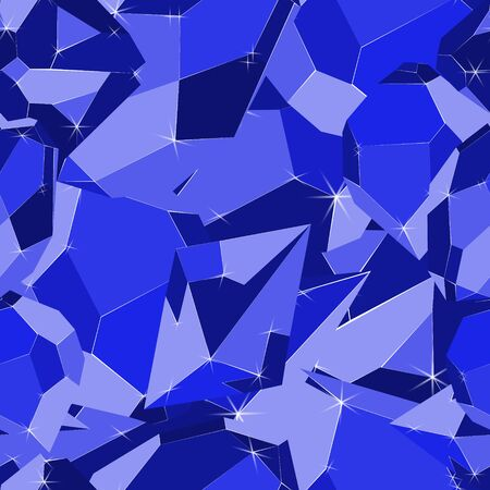 Blue luxury precious jewels iceberg seamless vector pattern. Luxury jewels geometric precious objects. For cover, banner, background, card banner, poster luxury design.