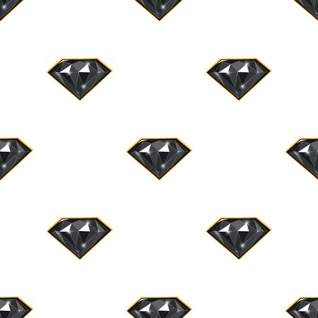 Endless vector pattern of black diamonds on white backdrop. Luxury jewels geometric precious objects. For cover, banner, background, card banner, poster luxury design.