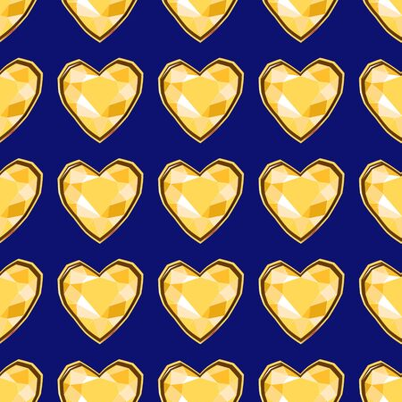Yellow diamond heart gems seamless pattern on blue backdrop. Luxury jewels geometric precious objects. For cover, banner, background, card banner, poster luxury design.
