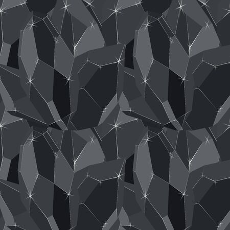 Black diamond stones iceberg seamless vector pattern. Luxury jewels geometric precious objects. For cover, banner, background, card banner, poster luxury design.