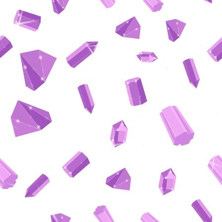 Lilac precious stones seamless vector pattern of white backdrop. Luxury jewels geometric precious objects. For cover, banner, background, card banner, poster luxury design.