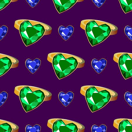 Emerald diamond gold rings seamless pattern on blue background. Luxury jewels geometric precious objects. For cover, banner, background, card banner, poster luxury design.