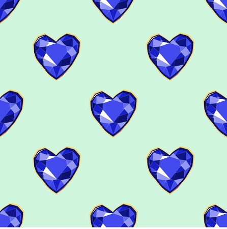 Blue diamond heart gems seamless pattern on turquoise backdrop. Luxury jewels geometric precious objects. For cover, banner, background, card banner, poster luxury design.