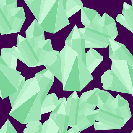 Emerald luxury precious jewels iceberg seamless vector pattern. Luxury jewels geometric precious objects. For cover, banner, background, card banner, poster luxury design.
