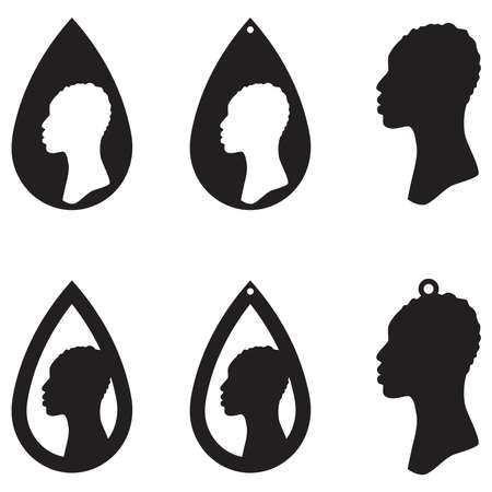 Set of african ethnic style earrings isolated on white background. Vector illustration.