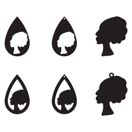 Set of african ethnic style earrings with black lady silhouette isolated on white background. Vector illustration.