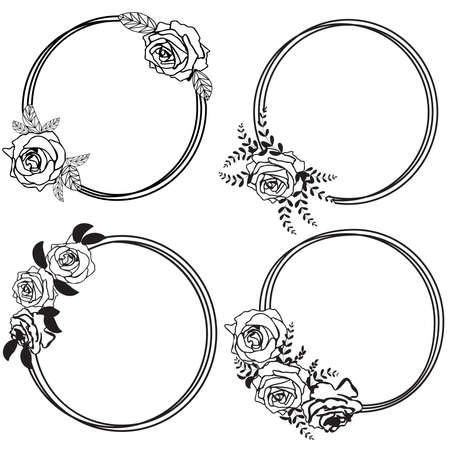 Round floral frame with rose flowers. Black outline simple desing isolated on white background. Vector illustration.