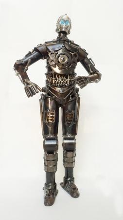 Steel robot  isolated on white Stock Photo - 16929906
