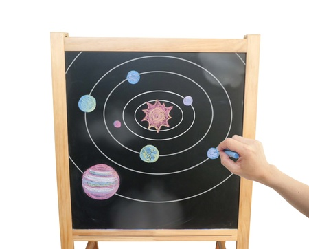 Chalkboard with chalk drawing of our solar system  Stock Photo