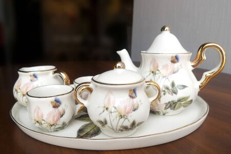 White porcelain set for tea on the table Stock Photo - 17272680