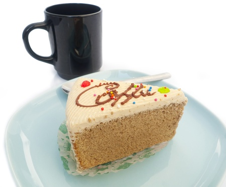 coffee cake and cup on white background  Stock Photo