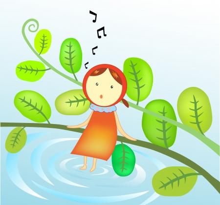 Illustration of a Girl singing In the garden Stock Vector - 17437783