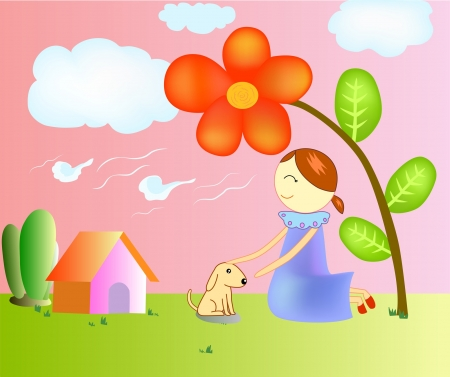 illustration of a girl and dog  In the garden. Vector