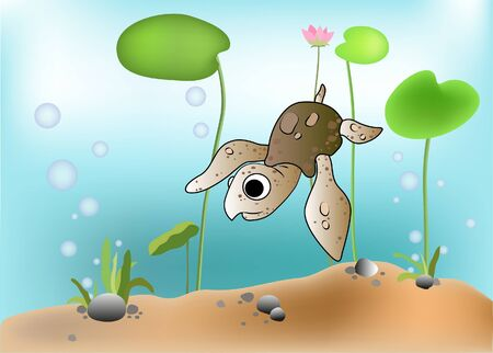 Illustration of a turtle scene underwater Vector