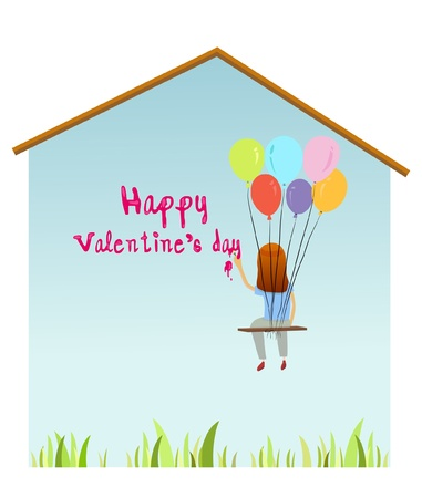 painting Valentine text on the Wall.  Vector