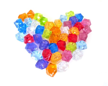 valueables: crystal heart on white background that are very colorful