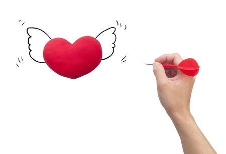 romance strategies: Dart Hitting heart, Isolated On White Background