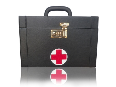 being the case: First aid box, isolated on white  Stock Photo