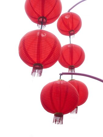 Red chinese lanterns isolated on a white background.