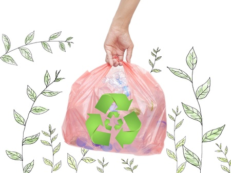 simple plastic bottles in a garbage bag with recycle sign Stock Photo