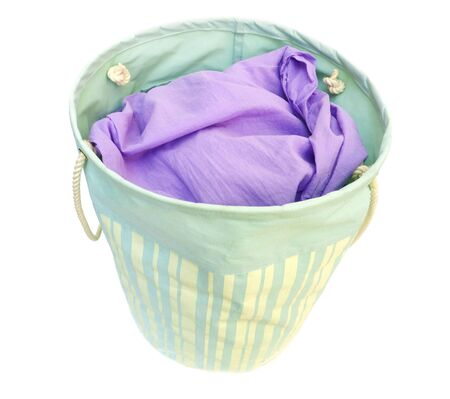 laundry in a basket, isolated on white  Stock Photo