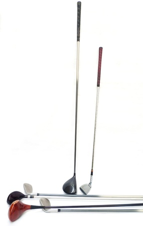 Three diferent golf clubs on white background.