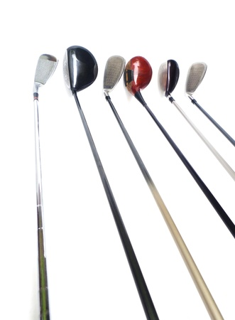 Three diferent golf clubs on white background  Stock Photo