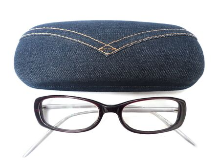 nearsighted: glasses with case on a white background