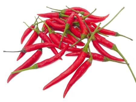 Fresh red chilli closeup on white background