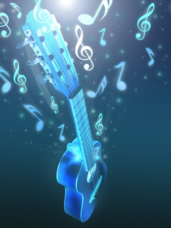 guitar and music theme background . photo