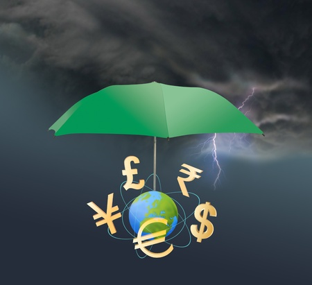 Different currency symbols under the umbrella. The theme of financial guarantee.