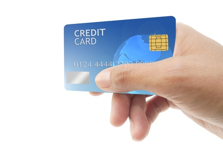 hand showing credit card  isolated on white background.