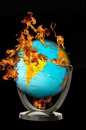 Global Warming burning the earth  Stock Photo