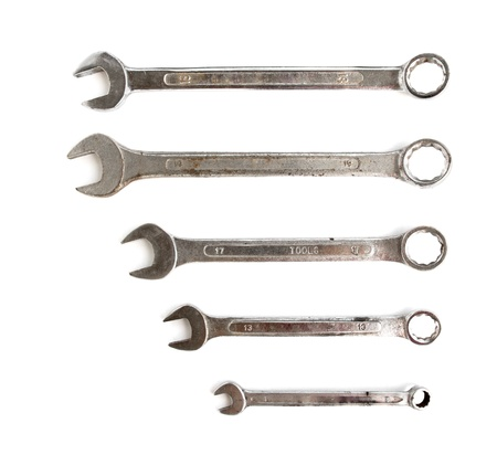 different sizes chrome vanadium wrenches isolated on white
