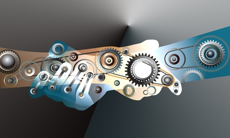 handshake, human hand of many mechanisms.
