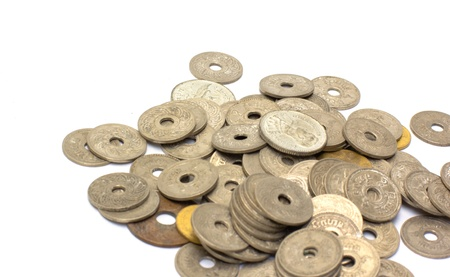Old coins on white background Stock Photo - 19556831