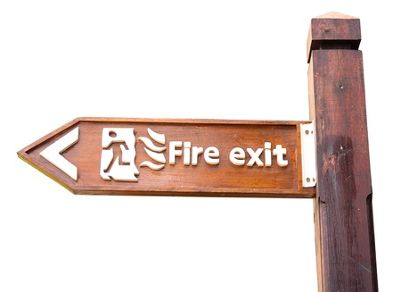Emergency exit sign isolated on white  Stock Photo