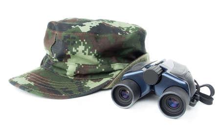 khaki: Khaki cap with binoculars on white background