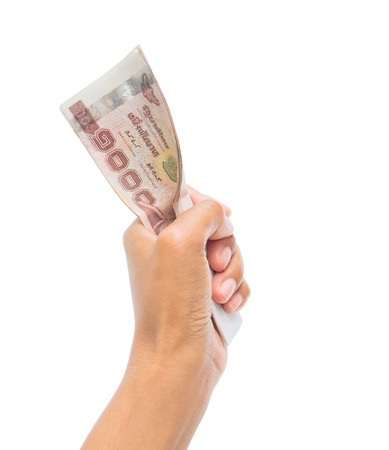 give money: Thai money in the hand.