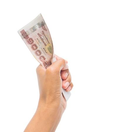 Thaise geld in de hand.