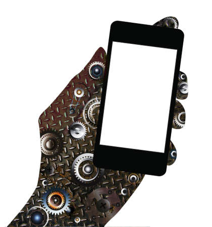 Gear hand holding blank mobile smart phone isolated on white background photo