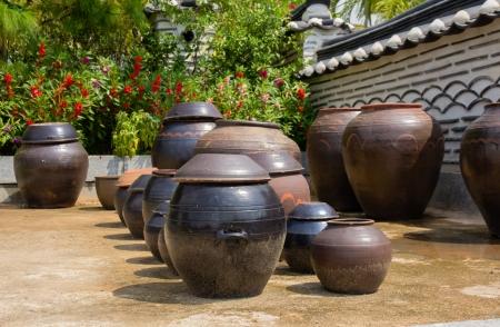 Heavy pots stacks of Korean Kimchi