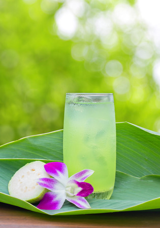 Guava juice on the leaves ,outdoor Stock Photo
