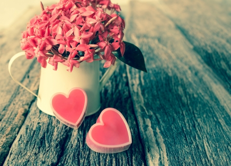 Valentines Day with hearts and flower